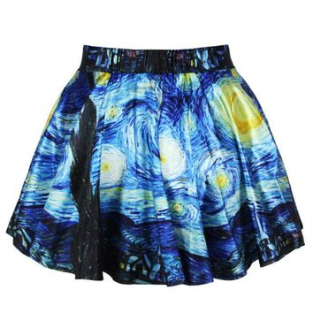 Women Summer Skirts 2018 A-Line mini vintage Harajuku skirt with a high waist Jellyfish Star Comics pattern style