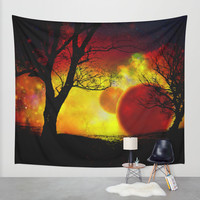 red planet Wall Tapestry by Haroulita