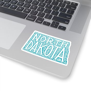 North Dakota State Shape Sticker Decal - Teal