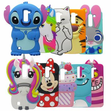 Phone Case For LG K10 LTE M2 F670 Q10 3D Cute Cartoon Minnie Stitch unicorn Sulley Silicone Back Cover For LG K10 2016 Case