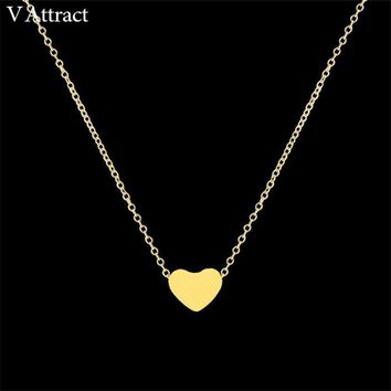Women Jewelry Stainless Steel Chain Necklace Gold Color Dainty Tiny Heart Shaped