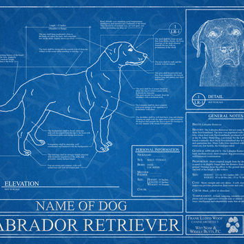Customized Labrador Retriever Blueprint / Custom Dog Portrait / Labrador Retriever Art / Labrador Retriever Wall Art