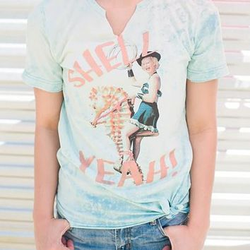 """Gina """"Shell Yeah"""" Bleached Neon Blue Tee (Options)"""