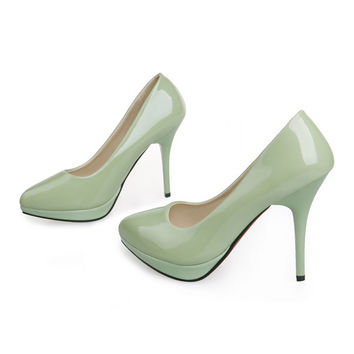 Women Work Shoes Pointed Thin High Heel Night Club  green