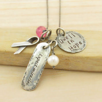 Rustic Personalized Cancer Necklace - Get Well Necklace - Expect Miracles - Dwell in Hope - Antiqued Silver - Cancer Awareness Ribbon