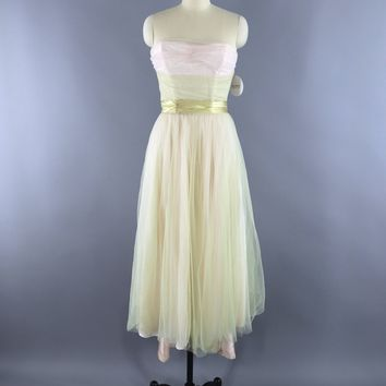 Vintage 1950s Spring Green & Blush Tulle Formal Dress
