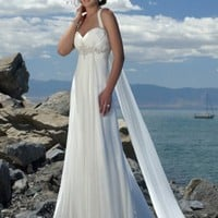 A-lineStrapless Sweetheart with Elegant Semi-Cathedral Train Beach Pleating Chiffon Wedding Dress