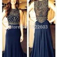 New Fashion Scoop Off Shoulder Beading Sequin Floor Length Satin Blue Champagne Long Sexy Prom Dresses 2015 Formal Gowns S410-in Prom Dresses from Apparel & Accessories on Aliexpress.com | Alibaba Group