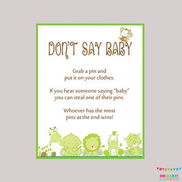 Safari Don't Say Baby Neutral Shower Game - Printable Safari Don't Say Baby Sign Diaper Pin Clothes Pin Game - Instant Download - BS0001-G
