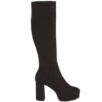ESBONIG Chinese Laundry Nancy - Black Suede Tall Platform Boot