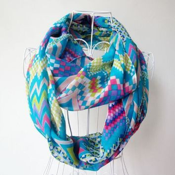 Colorful Grid Infinity Scarf