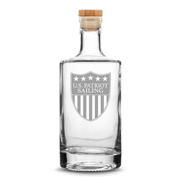 Premium US Patriot Sailing Refillable Jersey Bottle, 750mL Deep Etched Round Bottle with Cork, Made in USA