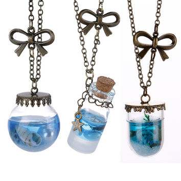 OPAL FERRIE - Natural Literary Style Ocean Wind Drift Bottles Lucky Pendant Necklace Locket