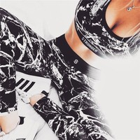 Women Printed Vest Trousers Sports Two-Piece Set