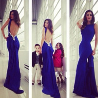 Backless Prom Dress,Royal Blue Prom Dress,Long Evening Dresses