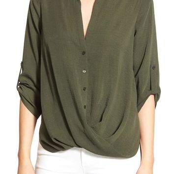 Lush Twist Front Woven Shirt | Nordstrom
