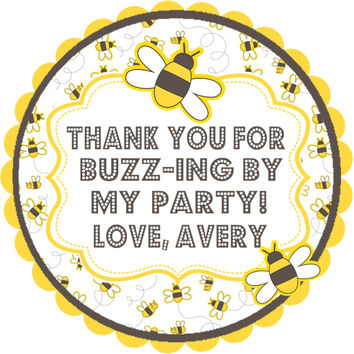 "Bumble Bee Birthday Party Stickers Or Favor Tags - 2.5"" Round"