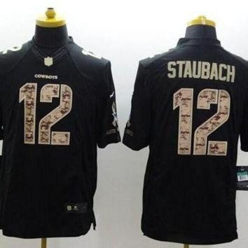 PEAPYD9 Nike Cowboys #12 Roger Staubach Black Men's Stitched NFL Limited Salute to Service Jer