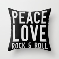Peace Love Rock & Roll Throw Pillow by Tchea-ster