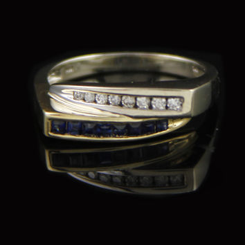 Two Toned Bypass Design Ring w/ Square Sapphires and Round Diamonds