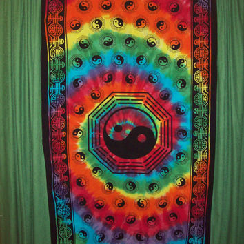 Tie Dye Ying Yang Curtain Tapestry Large 44 X 88 inches