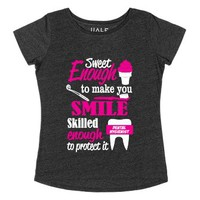 Sweet Enough to Make You Smile-Female Heather Onyx T-Shirt
