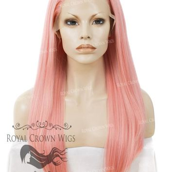 "24 inch Heat Safe Synthetic Straight Texture Lace Front ""Aphrodite"" in Powder Pink"