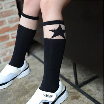 Cartoon Kids Knee High Socks Children Black White Sock Baby Girl Leg Warmers Kids Cotton Print Satr Socks