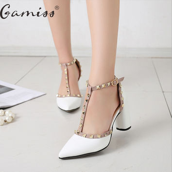 Gamiss T-strap Pumps Patent Leather High Heels Women Sandals Shoes Pointed Toe Thick Heels Rivets Shoes Party Wedding Shoes