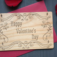 Happy Valentine's Day Card - Wood Card for Valentine's Day