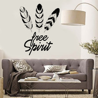 Vinyl Wall Decal Feathers Free Spirit Ethnic Style Room Art Stickers Mural Unique Gift (ig5039)
