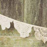 Cream Doily Bunting Flags, Crochet Bunting, Wedding Banner, Baby Nursery Decor, Vintage doilies, Weddings