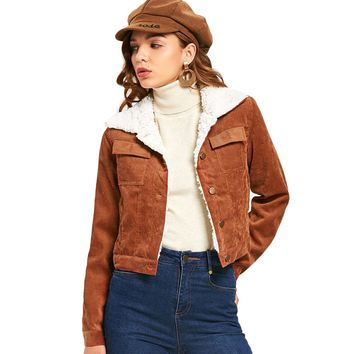 Women Brown Lambswool Jacket Coats Vintage Long Sleeve Corduroy Overcoats Hairy Collar Autumn Winter Warm Jackets Female