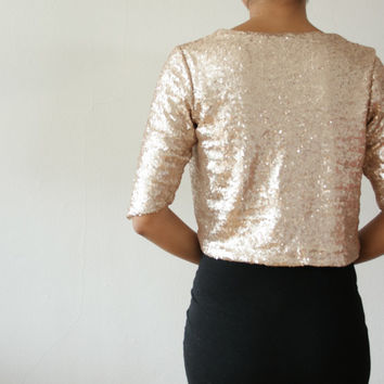 Gold Champagne Sequin Bolero Shrug Formal Wedding or Bridal Party, Holiday - Classic and Simple - EcoFriendly - SALLY