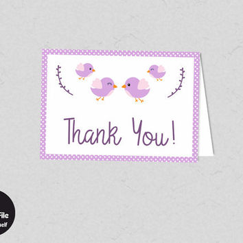 Baby Shower - Printable Bird Thank You Card, Pink, Birdie Thanks, Printable Party Supplies, Baby Shower Favor Tag, Baby Girl, Kawaii