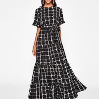 Frilled Sleeve Brush Stroke Grid Tiered Dress -SheIn(Sheinside)