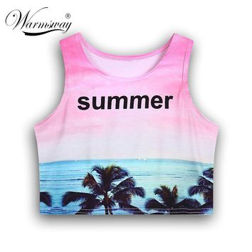 Summer Alien Pattern halter top women tank sexy halter crochet bustier crop top Cotton solid short fashion tank top