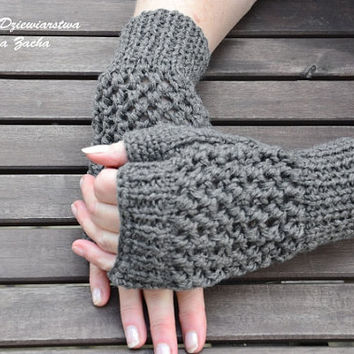 Grey Fingerless Mittens , fingerless gloves in handmade , warmers gloves