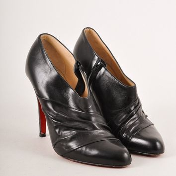 HCXX Black Ruched Leather Heeled Ankle Booties