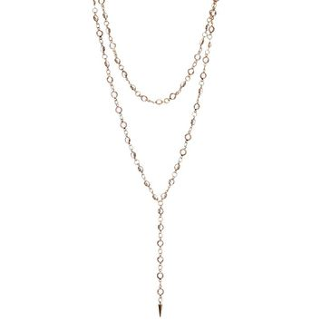 Double Layer Glass Bead Y-Drop Necklace