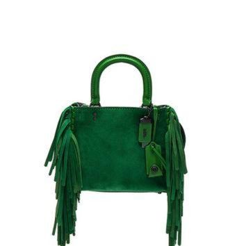 ONETOW Coach 1941 Suede Fringe Rogue Bag in Kelly Green | FWRD