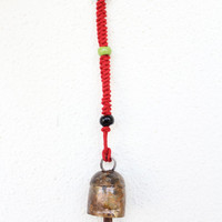 Sale Handmade Windchimes - Bells with Jute Rope and Beads to Hang in your house for a Vintage Look,Cow bells, Indian Vintage Door Hanging