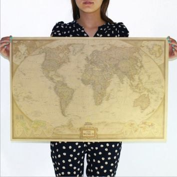 Vintage Retro Paper World Map Antique Poster Wall Chart Home Decoration 72.5*47.5cm