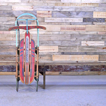 Vintage Wood Sled, Holiday Sled Decor, Old Wood Childrens Sled, Silver Streak Sled