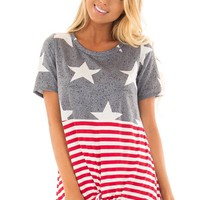 Americana Navy Red and White Short Sleeve Tee