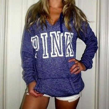 PEAPON PINK' Victoria's Secret Casual Letter Print Hoodie Sweatshirt Top Sweater