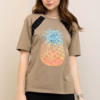 Scoop Neck Pineapple and Lace-Up T-Shirt