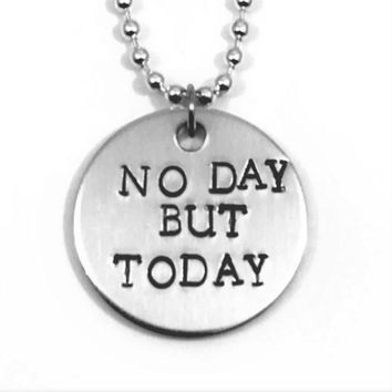 Rent Broadway Musical No Day But Today Hand Stamped Aluminum Necklace