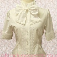 Sweet Style Doll Collar Short Sleeve Bowknot Lolita Blouse