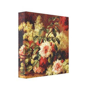 Roses and Mahogany by de Longpre Wrapped Canvas Canvas Print